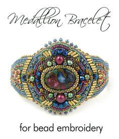 Medallion Bead Embroidery Bracelet