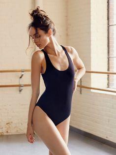 Luma Grothe || FP MOVEMENT Brady Stretchy Rib Open-Back Bodysuit (Black)