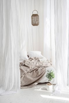 White sheer linen curtains, White canopy made of linen muslin, Perfect white linen drapes White Linen Curtains, Sheer Linen Curtains, White Canopy, Canopy Curtains, White Linen Bed, White Bedroom Curtains, Linen Fabric, Bed With Curtains, Curtains Around Bed