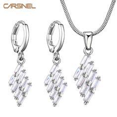 CARSINEL Purple Jewelry Sets for Women Trendy  Silver color Cubic Zircon Earrings Necklace Jewelry Sets Fashionable Women Sets