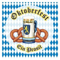 These Oktoberfest paper napkins feature the Bavarian blue and white check pattern, a beer stein and two pretzels.