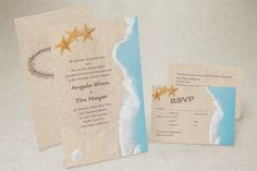 Names Written in the Sand - Rectangle Wedding Invitation by MagnetStreet