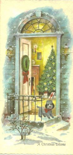 Vintage Christmas Card ~  Poodle on Front Step