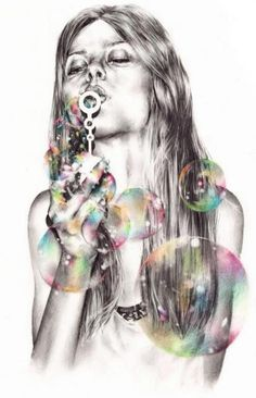 Art & Fashion Illustrations // those bubbles look crazy real! What an amazing artist!