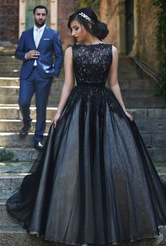 A-Line Popular Black Lace Long Prom Dress New Arrival Custom Made Formal Occasion Dresses