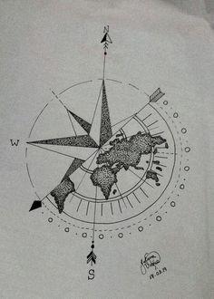 Geometric Compass, Compass Art, Compass Drawing, Compass Tattoo Design, Sketch Tattoo Design, Tattoo Sleeve Designs, Sleeve Tattoos, Map Tattoos, Cute Tattoos