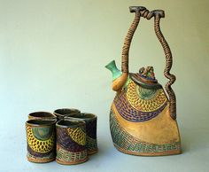 Hand-built Stoneware Tea Set with Five Cups by PotterybyHelene