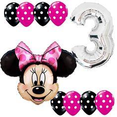 3rd Birthday Party Supplies Minnie Mouse Anagram Foil Balloons Bouquet Polka dot #Anagram #BirthdayChild