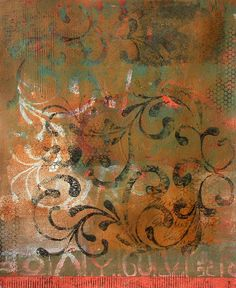 Continuous Interplay - Monotype print by Anne Moore