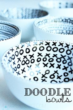 #diy doodle bowls  I might try drawing on the outside of a white bowl instead. Would make me worry less about whatever I used to draw inside it.