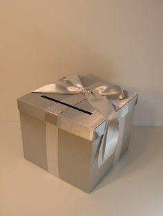 Silver Wedding Card Box Gift Card Box Money Box Holder--Customize in your --custom made Wedding Gift Card Box, Money Box Wedding, Gift Card Boxes, Wedding Boxes, Wedding Cards, 25th Wedding Anniversary, Silver Anniversary, Anniversary Ideas, Gris Violet