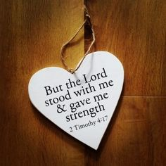 Heart Quotes, Hanging Hearts, Bible quote, Strength quote.