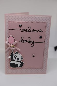 Another Panda card today, and this one is for a newborn baby. The stamp set is party pandas by Stampin Up, and I have used a couple of Seven Paper Doll dies ( stitched rectangles and words) to complete this one. I added a pretty bow, flower and some sequins to bling this one up…