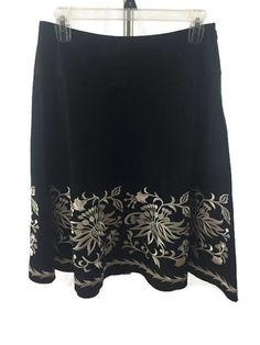 White House Black Market Skirt Women's Floral Embroidered Size 2 #WhiteHouseBlackMarket #ALine