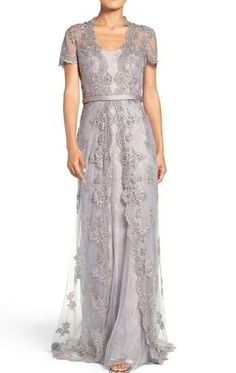 MACloth Cap Sleeves Lace Long Evening Gown SilverMother of the Brides Dress