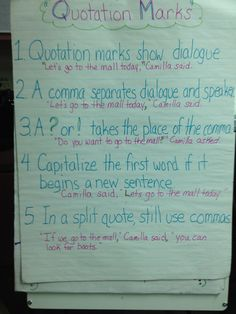 This is a great anchor chart for teaching fourth graders rules for using quotation marks in their writing. We tied it to a promethium board interactive lesson and a winter dialogue packet.