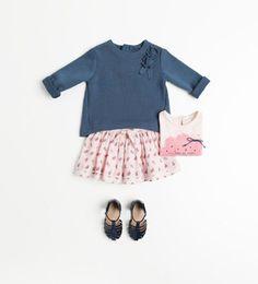 Girly skirt, basic sweater, best combo!