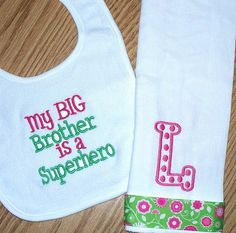 Baby Girl Gift Set - My Big Brother is a Superhero bib / Monogrammed burp cloth