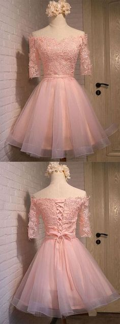 Half Sleeve Tulle Prom Dress,Pink Homecoming Dress,Elegant Graduation Dress