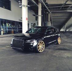 Wifey car #2 Q5 Audi, Audi Cars, Gold Wheels, Black Audi, Mens Toys, Modified Cars, Dream Garage, Cool Cars, Mercedes Benz