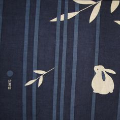 Rabbit Moon and Bamboo Japanese Asian Fabric by JapanesqueAccents