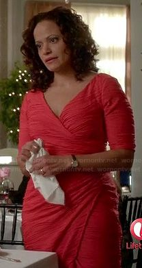 Zoila's red wrap dress with seam texture on Devious Maids Judy Reyes, Luna Fashion, Red Wrap Dress, Devious Maids, Roselyn Sanchez, Sue Wong, Feather Dress, Champagne, Actresses