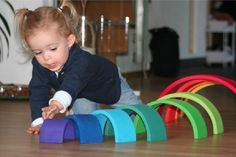 Amazon.com: Grimm's Extra Large 12-Piece Rainbow Stacker - Wooden Nesting Puzzle/Building Blocks: Toys & Games