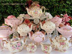 Vintage Teapots & Crystal Cake Stand