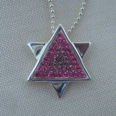 Sterling Silver Star of David Necklace With Pink by berrysdesigns, $19.00