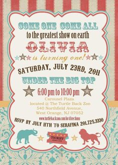 While I don't advocate circuses (with animals) I sure love me some vintage circus/carnival party themes & invites! Vintage Circus Party, Circus Carnival Party, Circus Theme Party, Carnival Birthday Parties, First Birthday Parties, Birthday Party Themes, First Birthdays, Vintage Carnival, Birthday Ideas