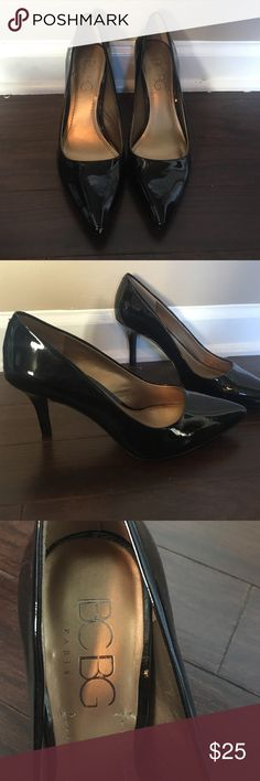 Brand new BCBG black pumps Brand new BCBG black patent leather pumps. Only worn once for an hour long interview. Great for the office and nightlife. BCBG Shoes Heels