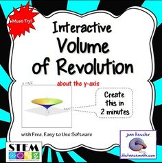 Awesome Simulations (Or Clip Art Maker) for AP Calculus AB and Calculus BC  and College Calculus 2.  WOW your classes with LIVE interactive math explorations and animations.  Easily demonstrate and explore the volume of revolution in your classroom as never before.