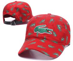 Men's / Women's Lacoste Full Croc Print Big Crocodile Embroidery Curved Dad Cap - Red (Copy Ori) Adidas Baseball, Baseball Hats, Lacoste Store, Dad Caps, Nike Golf, Knit Beanie, Crocodile, Crocs, Knitted Hats