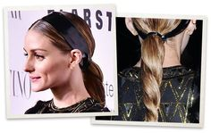 Olivia Palermo twisted low ponytail with headband | allure.com