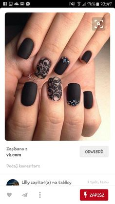 Another studded Black Nail art. If you love ornamented nails and black color as … Another studded Black Nail art. If you love ornamented nails and black color as well, this nail art design is worth trying for you. Fabulous Nails, Gorgeous Nails, Pretty Nails, Amazing Nails, Get Nails, Hair And Nails, Black Nail Art, Black Polish, Lace Nails
