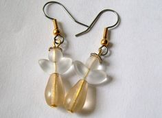 Angels Earrings Gold And Silver Angels Beaded by VintagePlusCrafts, $10.00