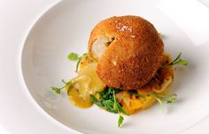 Curried chicken Kiev with squash sag aloo