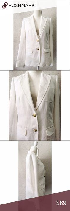 """Beautiful JCrew White Linen Rhodes Jacket NWT 8T Gorgeous JCrew Rhodes Linen Jacket NWT In Size 8T. This jacket still has original tags and most buttons on sleeves are still wrapped in tissue. It also comes with a pack of replacement buttons. This jacket has a notch collar and is lined with an interior pocket as well. It's perfect for work or your next summertime garden party.  Shoulder seam to bottom hem: 27"""". When buttoned bust is app. 38"""" and hip app. 40"""". Could be more when unbuttoned…"""