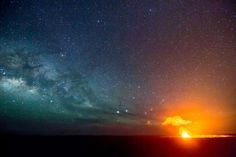 Taken at the Hawaii Volcano National Park. I found it away from the visitor center where every tourist with a camera already was. Also I was not thrilled with the view point , looking down & brush was in the way. I wanted a nice straight clear shot, as well as far enough away that the glow from the crater wouldn't drown out the night sky. I had to back track a ways and explored, I try to never shoot where everyone else is if possible. But found my spot and took one of my favorite Hawaii…