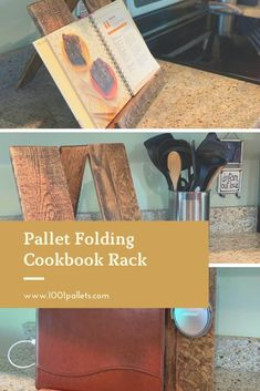 """Folding cook book rack that doubles as a charging station when not given step by step directions to your delicious meals. For this piece, I used 3 wide pallet planks cut to 13"""" each. I used finisher pine boards for the bottom shelf. Two 1"""" wood dowels were used to connect the top and act … Read More » #Kitchen, #RecyclingWoodPallets #PalletHomeAccessories Free Wood Pallets, 1001 Pallets, Recycled Pallets, Wooden Pallets, Outdoor Pallet Projects, Pallet Home Decor, Diy Pallet Furniture, Pallet Ideas, Diy Projects"""