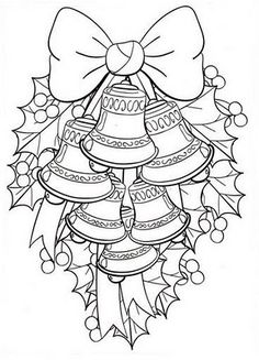 Christmas Coloring Pages - Bells Christmas Coloring Pages, Coloring Book Pages, Printable Coloring Pages, Coloring Sheets, Christmas Colors, Christmas Art, Xmas, Christmas Ideas, Illustration Noel
