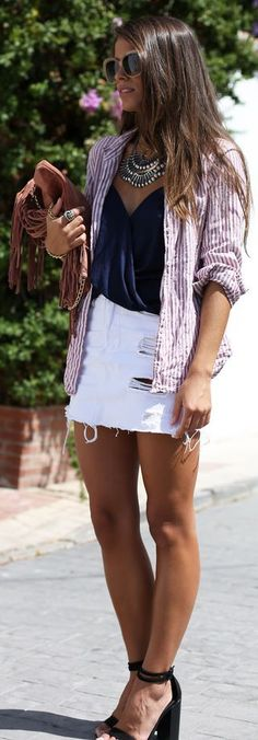 White Cut Off Ripped Denim Mini Skirt by Seams For a Desire