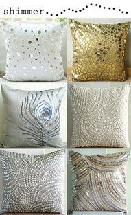 Shimmery, Sparkly, Cream, Silver, Gold Pillows.