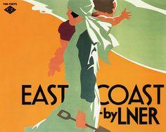 East Coast by LNER c.1930s , England vintage travel railway poster by Purvis   #essenzadiriviera.com