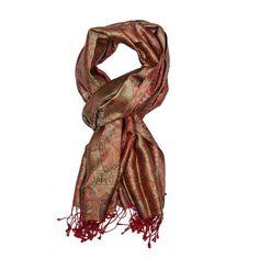 Red Jamavar Silk Scarf