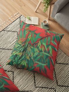 """""""Ash-tree, floral art, red & green, summer greenery"""" Floor Pillows by clipsocallipso 