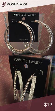 Silver glitter and rhinestone hoop earrings! New, never worn, silver glitter and rhinestone hoop earrings! Lots of bling ladies!! Jewelry Earrings