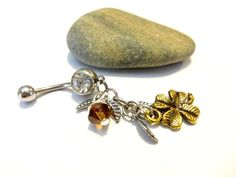 Four Leaf Clover Belly Button Ring  Clover Dangle by YoursTrulli