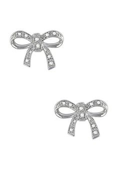 Sterling Silver Diamond Bow Ear Pin Stud Earrings - 0.05 ctw by Delmar on @HauteLook