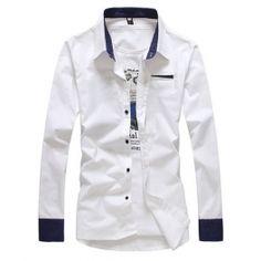 White Slim Fitting Men Fashion Lapel Long Sleeve Cotton Shirts M/L/XL/XXL (4 Colors) $24.99